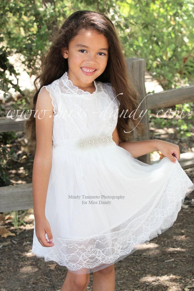 Grace Dress -  White Lace Flower Girl dress, French Lace & Rhinestone Sash Dress, Shabby Chic, Bohemian flower girl dress, first birthday