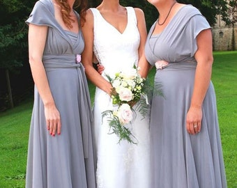 Middle gray Bridesmaids dress  with chiffon  skirt floor length wrap dress Convertible/Infinity Dress dress