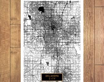 OKLAHOMA CITY Oklahoma City Map Oklahoma City Art Print Oklahoma City poster Oklahoma City map art United States of America Jack Travel