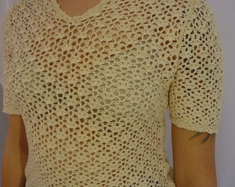 Handmade Cream Crocheted Top