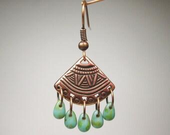 Copper Earrings,  Fan Earrings, Chandelier Earrings, Turquoise Boho Earrings, Tribal Earrings, Boho Dangles, Southwest Earrings, Rustic