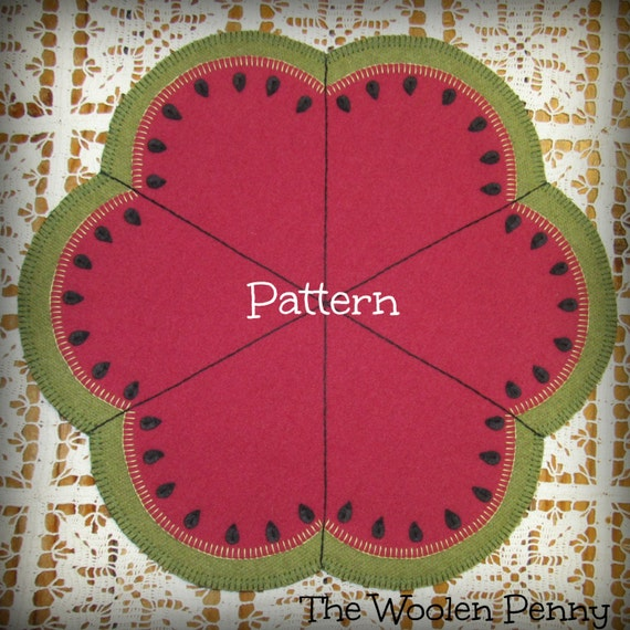 Slice Of Summer Penny Rug Candle Mat Wool Applique Pattern