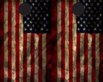 Vintage American Flag Cornhole wrap