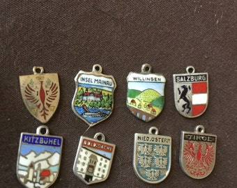 Vintage Travel Charms Enamel