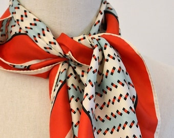Red, Blue and Ivory Confetti Patterned Vintage Scarf