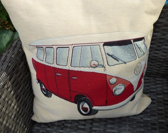 VW campervan cushion cover for 50 cm pad. Tapestry style front of red VW campervan. Beige back with zip closure closure at the bottom.