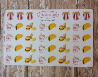 Fast Food Stickers, Taco Stickers, Chinese Take Out Stickers, Burger Stickers, Erin Condren Planner Stickers, A-52.