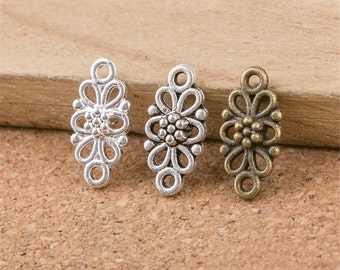 20 Flower Connector Charms Antique Silver Bronze Bright Silver For Pendants Bracelet Earrings Zipper Pulls Bookmarks Key Chains Making