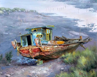 Original oil painting on canvas:story of the boat
