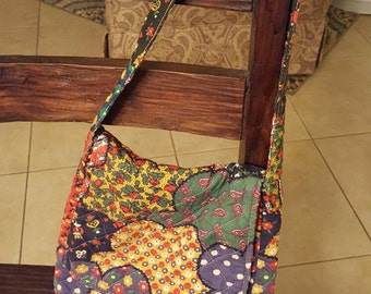 Quilted Floral Fabric Tote / Purse Bag