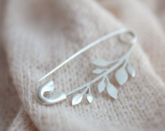 Silver twig pin,  branch  brooch