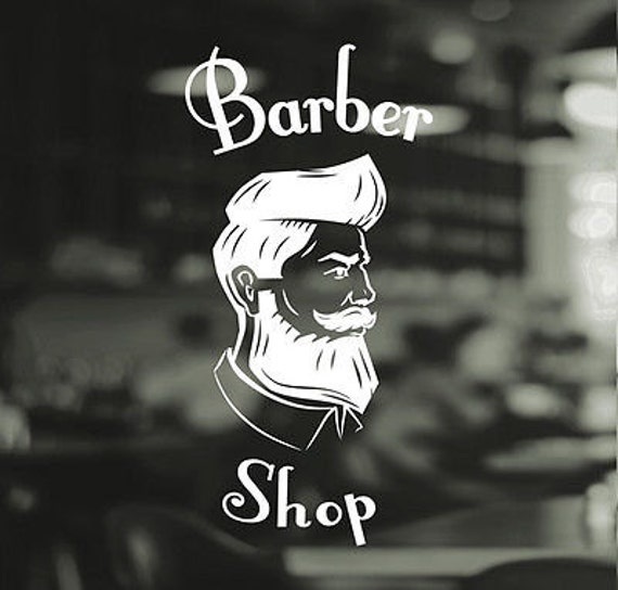Barber Shop Gentlemens Hair Men Salon Window Vinyl Sign