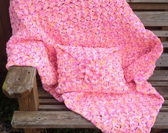 Multi-Color Pink/Orange Girls Throw and Pillow Set