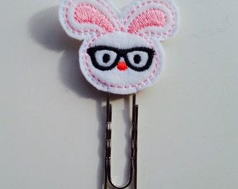 Novelty 'nerd bunny' bookmark // planner clip // paperclip