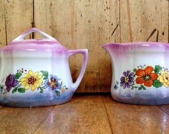 Registered Celebrate lusterware cream and sugar set made in Germany, vintage dishes
