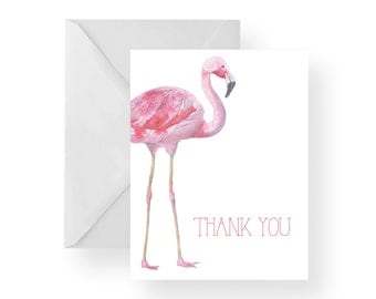 Thank You Cards Flamingo (Set), thank you cards, stationary, note cards, thank you card set, bird, folded card