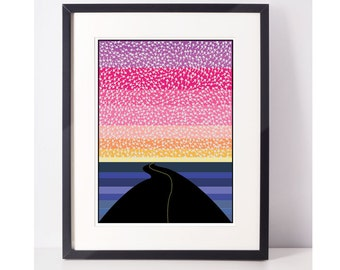 RoadTripIsh: Road Trip Art, Road Trip Wall Art, Road Trip Print, Digital Download, Art Print, Arrows, Sunset, Road, Wall Art