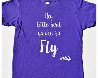 Hey Little Bird You're So Fly Kids Tee-t-shirt-children-summer-Sparkle