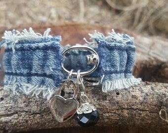 Frayed Denim and Silver Bracelet with Heart and Glass Bead Charms