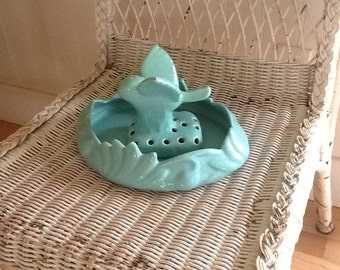 SALE!!! Vintage flower frog, ceramic, two piece, bird frog and bowl