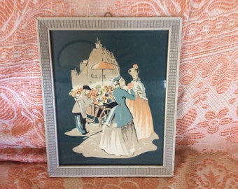 Vintage Art Deco Framed Print of French Scene