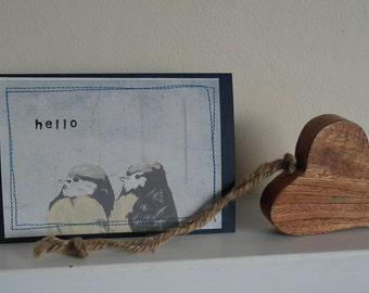 bird print stiched greeting card