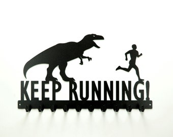 Free USA Shipping Keep Running T-Rex and Running Man Medals Rack