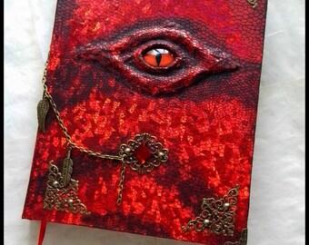 Handmade notebook, sketchbook,journal - Fire Dragon Eye