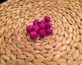 Magenta geometric beads