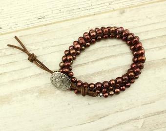 Brass potato pearls bracelet, beaded bracelets, pearl necklace, pearl choker, S 220