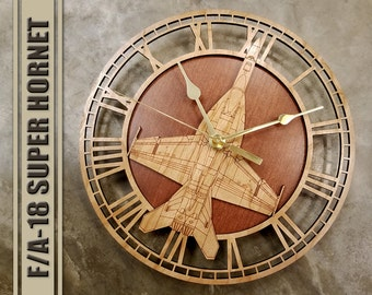 F-18 Super Hornet Wooden Wall Clock, United States Navy, Aircraft Gift, Airplane, Wood Clock, Aviation Gift, Military Gift, Pilot Gift