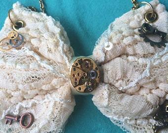 Lace Steam Punk Bow Necklace