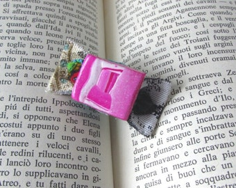One of a kind, Wearable art, Abstract jewelry, Small brooch, Fun jewelry, Polymer clay, Creative Gift, Handmade jewelry, RetroFunky, Playful