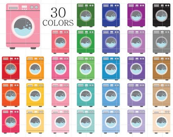 Washing Machine Clipart, Laundry Clip Art, Laundry Icon, Washing Machine Icon, Colorful Laundry, Laundry Day Clipart, Chores Clipart
