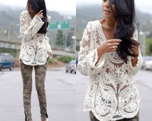 Sheer Embroidered Lace Boho Bohemian Crochet Summer Top in Black, White, Cream (Off White), or Sage (Olive)