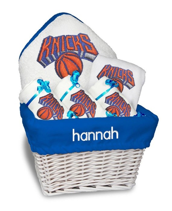 Baby Gift Baskets New York : Personalized new york knicks baby gift basket bib burp