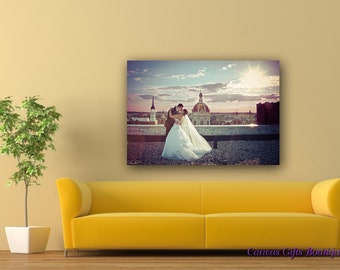 Canvas Photo Prints - Your Own Photo Printed on Framed Canvas Custom Print Wedding Picture Cotton Anniversary Gift for her