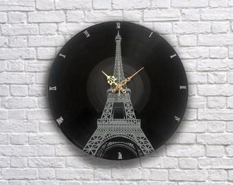 Paris Eiffel Tower painted retro vinyl clock