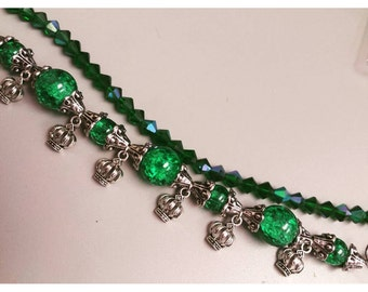 Green with envy bracelet, green beaded bracelet, crown bracelet, queen bee bracelet, envy, green jewelry set, three piece jewelry set