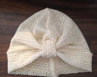 Knitted baby turban hat