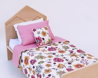 Modern Doll Bed / 11 inch doll bed / wooden doll bed with floral bedding / playscale bed / bed for Barbie doll