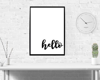 Hello Print Oversized Large Wall Art Poster