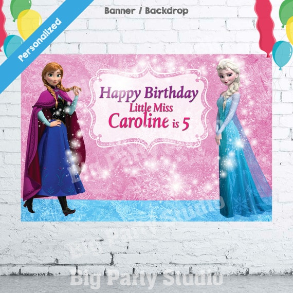 Frozen Happy Birthday Backdrop Frozen Banner By Bigpartystudio