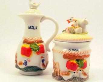Vintage bilingual cream and sugar, ceramic cream and sugar, ducks, apples, ceramic, cream and sugar, mid century