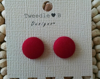 Lipstick Red - Fabric Button Earrings