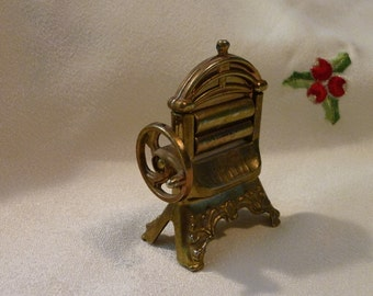 Vintage  Doll House Furniture - Miniature Wringer Washer - Brass Tone - Made in England - Gift for Collector - Such A Cute Piece