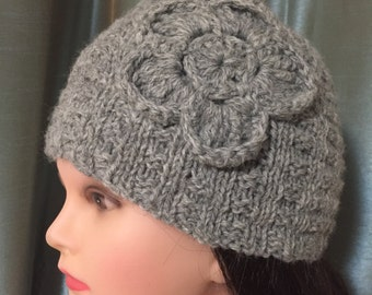 100% wool hand knitted hat