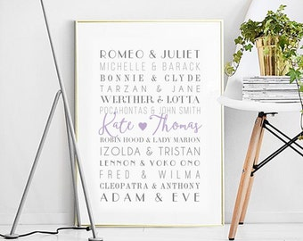 Poster Digital-Famous Couples Print,WEDDING,Personalized Love Print, Customizable Wedding,bachelorette gift,Custom Names,Wedding Anniversary