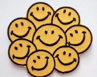 Smiley Face Bunch Smile Happy Hippie Hipster DIY Iron On Patch