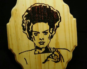 Bride of Frankenstein pyrography plaque